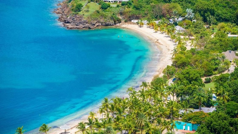 View of English Harbor from Shirley Heights, Antigua, paradise bay at tropical island in the Caribbean Sea - travel destination for vacation