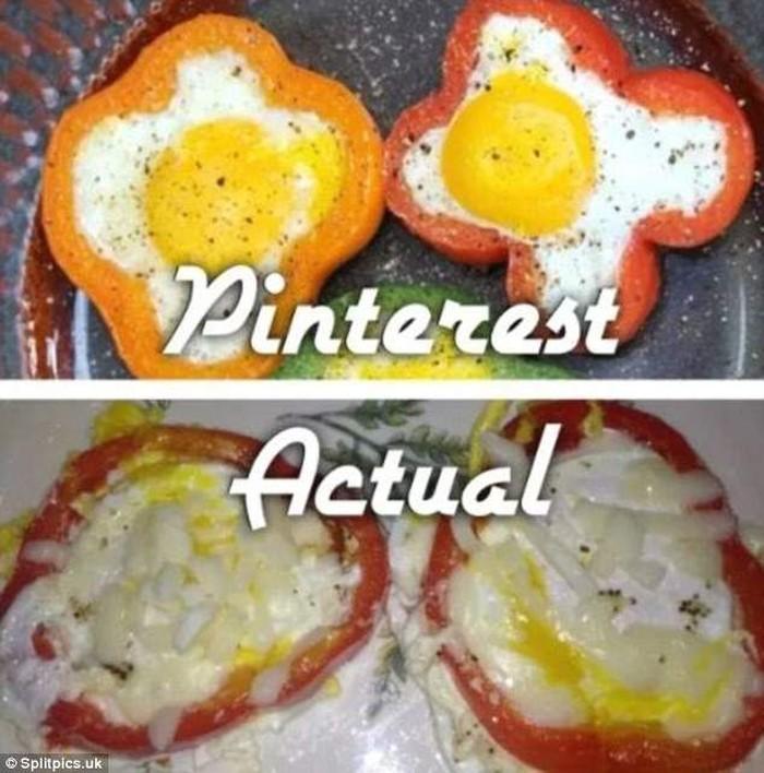 Niatnya bikin telur jadi seperti bunga dengan cara membentuknya menggunakan paprika. Tapi malah jadi oval dan terlihat sangat acak acakan. Foto: Istimewa