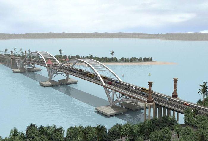 Jembatan yang membentang di atas Teluk Youtefa ini akan menjadi ikon baru kota Jayapura. Dok. Ditjen Bina Marga.