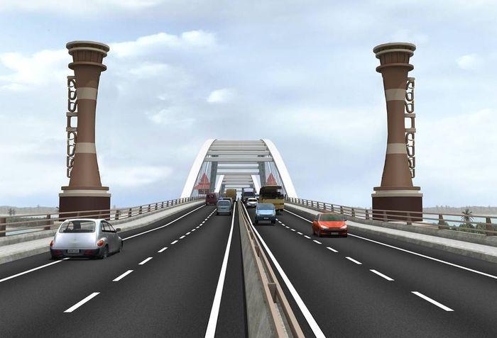 Dari desain 3D yang telah dirancang oleh Kementerian PUPR, Jembatan Holtekamp tampak membentang indah dengan 2 lajur yang memiliki median atau pembatas di tengah jalannya. Dok. Ditjen Bina Marga.