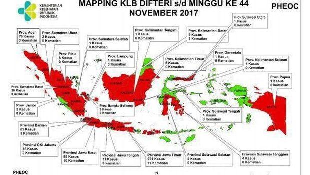 Ini dia peta persebaran difteri di Indonesia