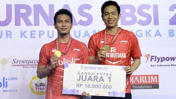 Hendra Setiawan/Mohammad Ahsan juara Kejurnas PBSI 2017.  (Tim Humas dan Media PP PBSI)