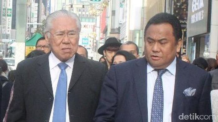 Rachmat Gobel dan Dubes RI untuk Jepang Arifin Tasrif mendampingi Mendag Enggartiasto Lukita bertemu Sekjen LDP Toshihiro Nikai. Foto: Sudrajat