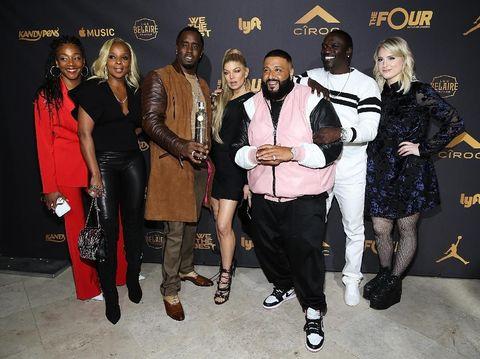 DJ Khaled (berjaket pink) bersama Sean 'Diddy' Combs, Fergie, Mary J Blige, dan Meghan Tranior di pesta ulang tahunnya.