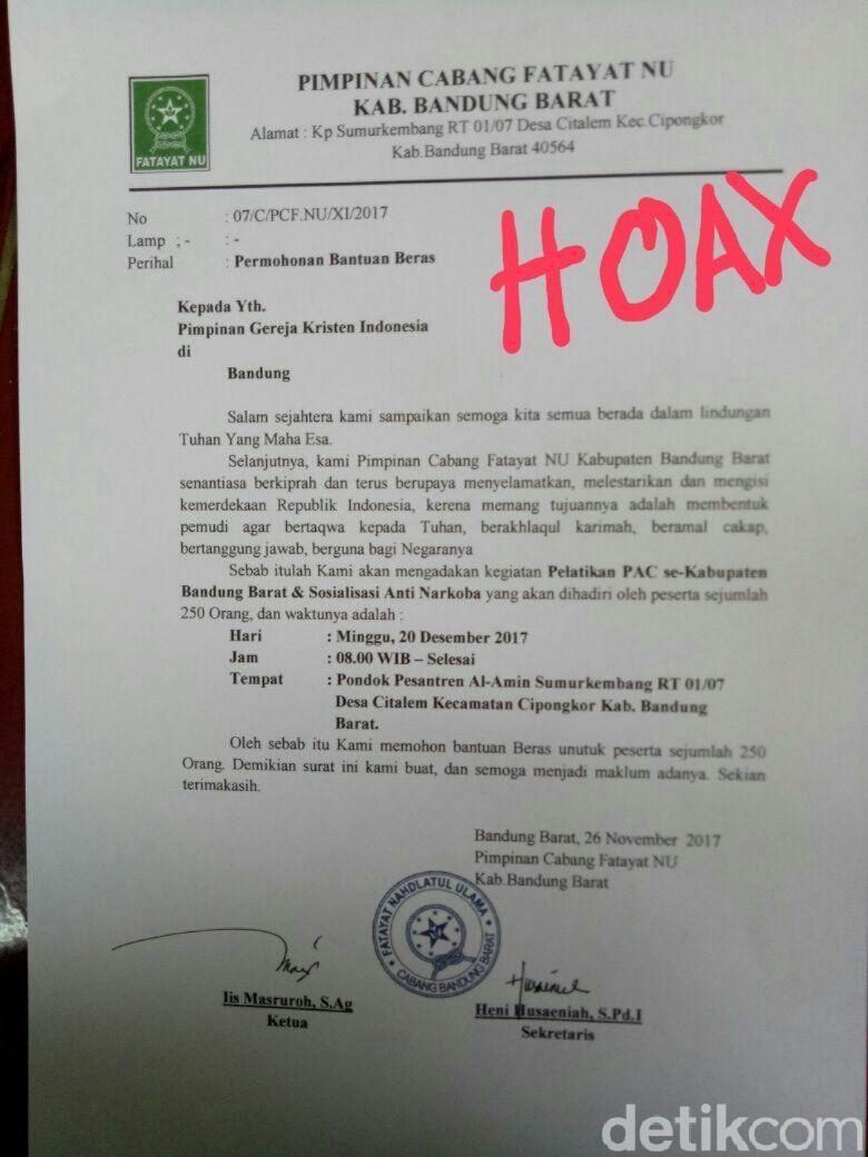 Viral Surat Minta Beras Ke Gereja Fatayat Nu Bandung Barat Itu Hoax Putih By Sehat Bogor