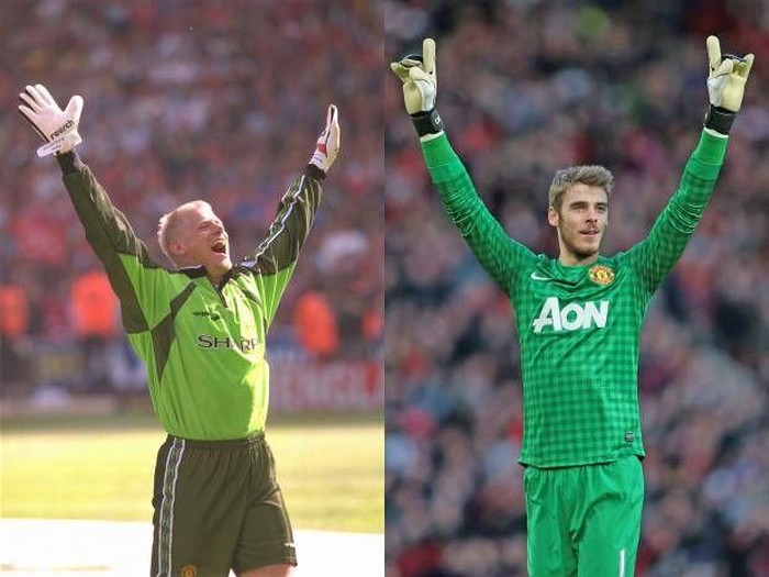 Peter Schmeichel dan David de Gea. Foto: independent