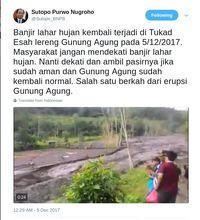 Banjir Lahar Hujan di Lereng Gunung Agung, Warga Diminta Menjauh