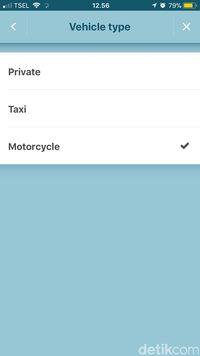 Pilihan 'Motorcycle' pada tipe kendaraan