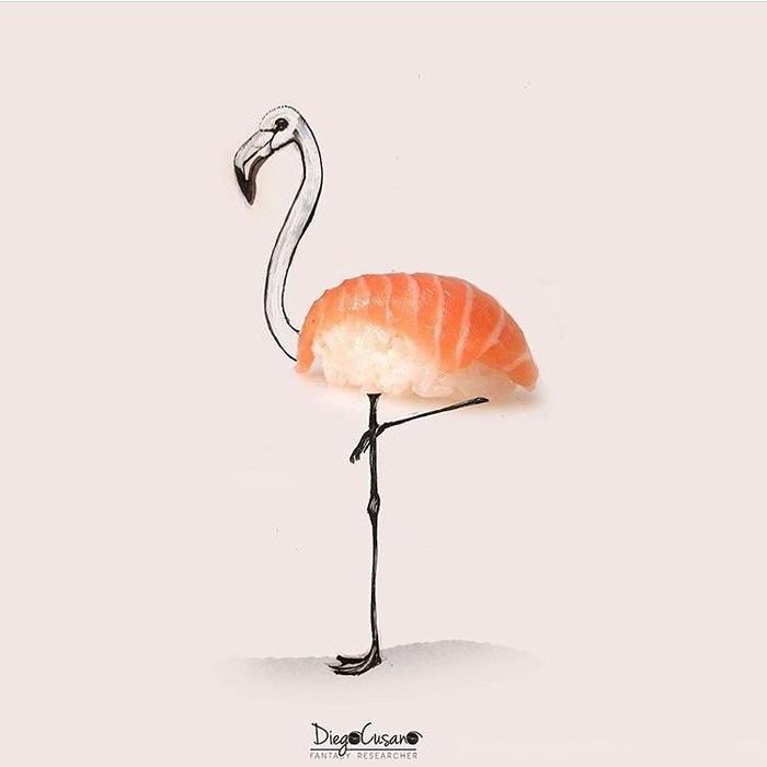 Dari kejauhan terlihat gambar flamingo yang cantik, tapi saat didekati bagian tubuhnya ternyata sushi dengan potongan salmon segar. Foto: Diego Cusano