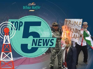 Massa Bela Palestina Bakar Boneka Trump, Radio se-Jakarta Mati