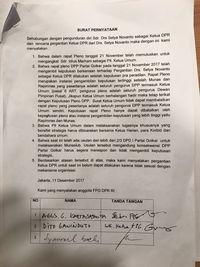 Surat tolak Aziz jadi Ketua DPR