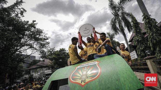 Bhayangkara FC saat merayakan juara Liga 1 2017. (