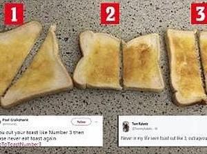 Netizen Berdebat Sengit Soal Bentuk Potongan Roti Panggang