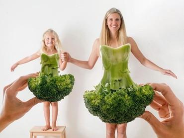 Hmm, lucu juga nih gaun dari brokoli. (Foto: Instagram @happygreylucky)