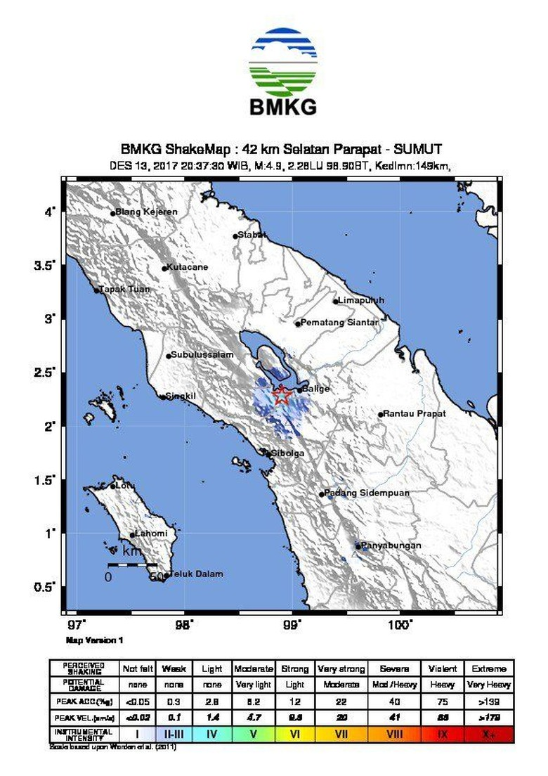 Gempa 4,9 SR Guncang Parapat Sumut