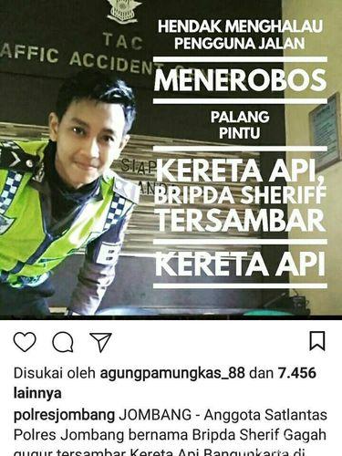 Polisi ganteng tertabrak KA di Jombang/