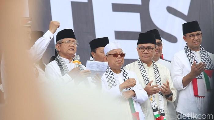 Aksi bela Palestina berlangsung di kawasan Monas, Jakarta Pusat, Minggu (17/12/2017). Aksi bela Palestina ini juga dihadiri beberapa tokoh Nasional seperti Zulkifli Hasan, Anies Basweda, Ahmad Heryawan, Fahri Hamzah dan lainnya. Grandyos Zafna/detikcom