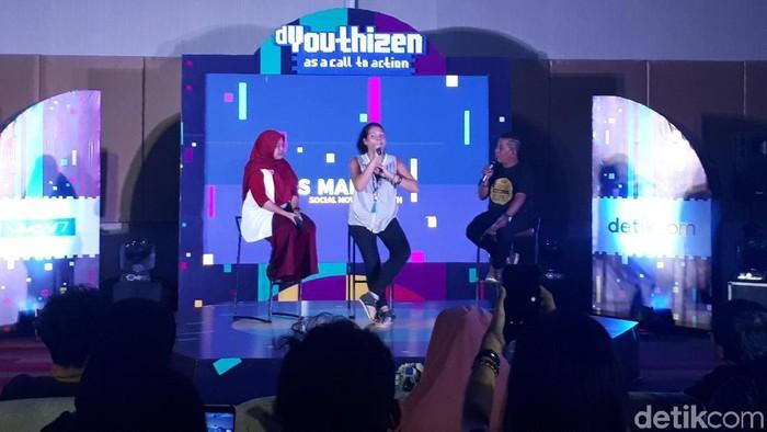 Melani Subono saat berbicara di acara dYouthizen Vivo di Surabaya. Foto: Rachmatunnisa/detikINET