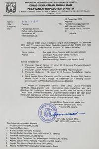 Surat Pemprov DKI cabut izin diskotek MG
