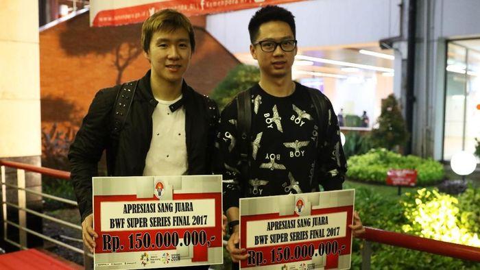 Kevin Sanjaya/Marcus Fernaldi Gideon tiba di Indonesia (Tim Humas Dan Media PP PBSI)