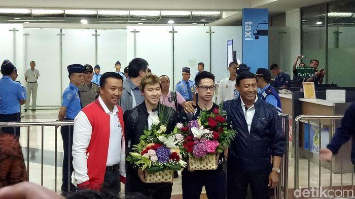 Kevin Sanjaya Sukamuljo/Marcus Fernaldi Gideon telah tiba di Indonesia (Randy Prasatya/detikSport)
