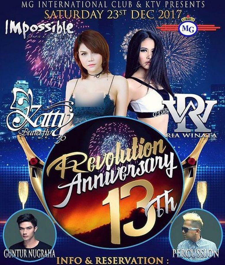 Belum lama ini beredar poster acara ulang tahun diskotek MG International ke-13 dengan sejumlah pengisi. (Dok. Instagram/dj_kattybutterfly36)