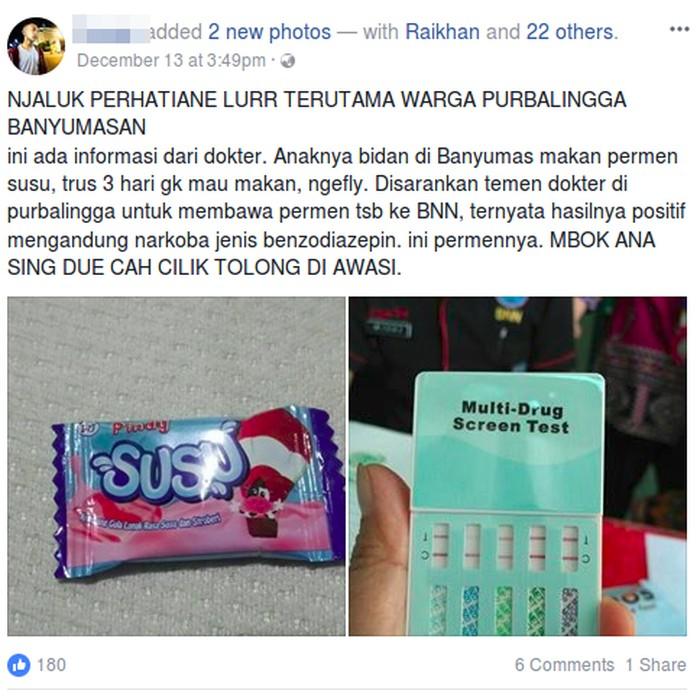 Salah satu unggahan tentang permen susu yang mengandung narkoba. (Foto: Facebook)