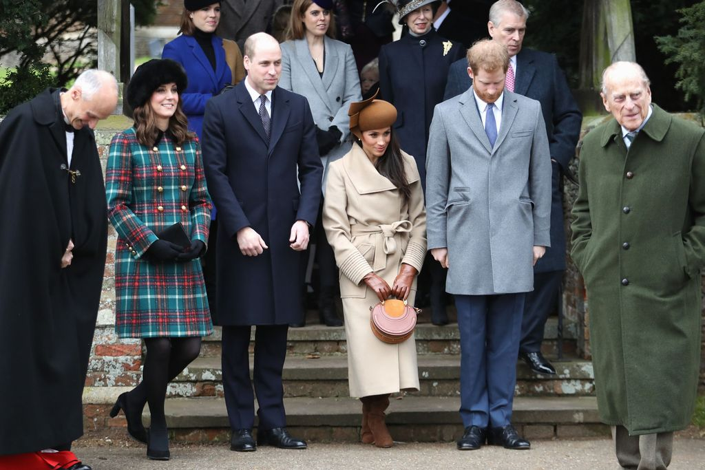 KING'S LYNN, ENGLAND - DECEMBER 25:  Prince Charles, Prince of Wales, Camilla, Duchess of Cornwall, Queen Elizabeth II, Prince Philip, Duke of Edinburgh, Meghan Markle and Prince Harry attend Christmas Day Church service at Church of St Mary Magdalene on December 25, 2017 in King's Lynn, England.  (Photo by Chris Jackson/Getty Images)