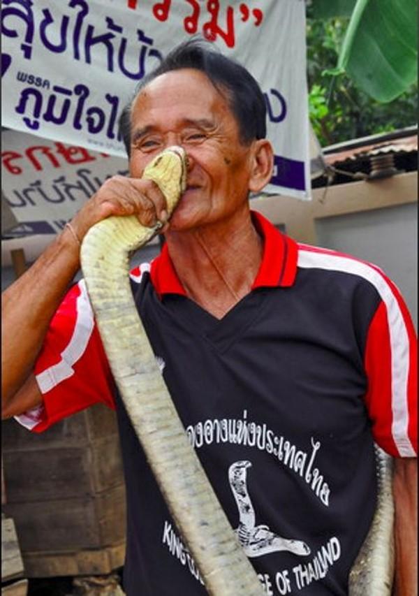 Kami sudah hidup bersama ular selama bertahun-tahun. Kalau ada salah satu dari mereka mati, maka kami akan membuat persembahan di kuil, kata Bualee, sebagai pawang ular paling senior di Ban Kok Sa-Nga (CNN)