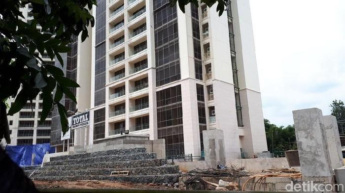 Lokasi tewasnya pekerja proyek Apartemen Paubuwono Spring (Audrey/detikcom)
