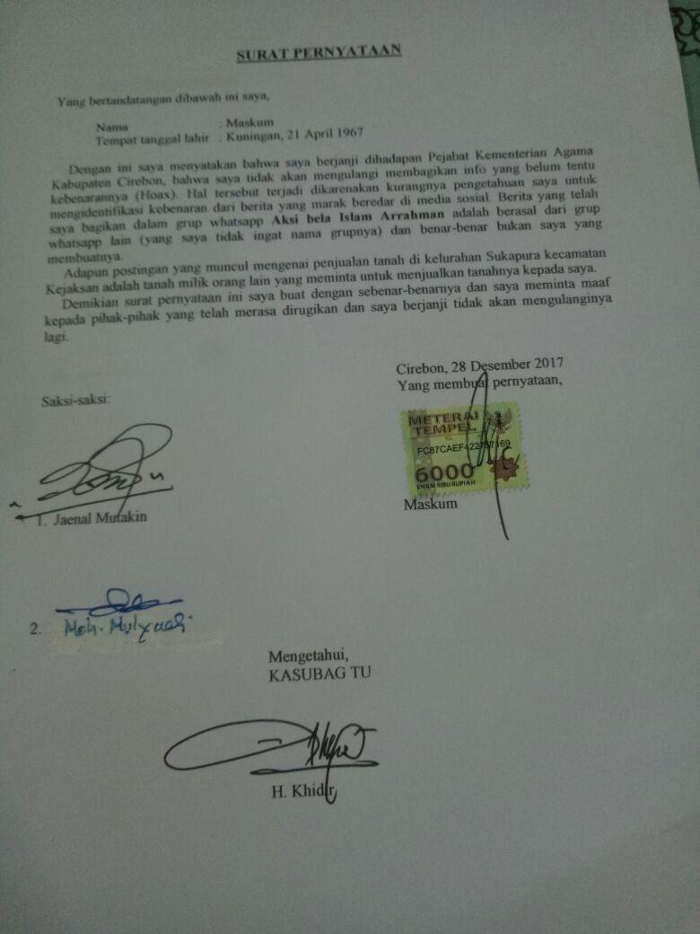Pns Kemenag Di Cirebon Sebar Hoax Lalu Bikin Surat Minta Maaf
