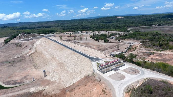 Bendungan Raknamo yang berlokasi di Kupang, Nusa Tenggara Timur (NTT) memiliki luas 147 Ha dengan kapasitas tampung sebesar Rp 14,09 juta m3. Dok. Kementerian PUPR.