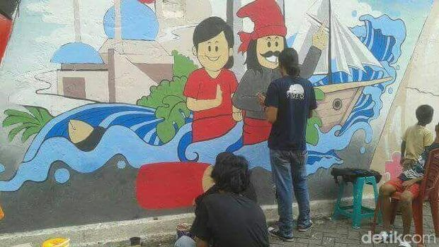 Up tambah cantik lorong warna warni makassar diberi mural for Mural yang cantik