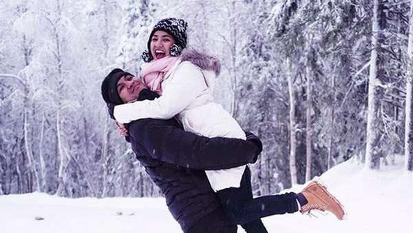 Cihuy! Natasha Rizki dan Desta Happy Banget di Tengah Salju