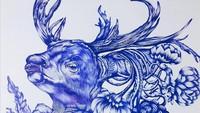 Lukisan Bolpoin ala Anis Kurniasih Bergaya Surealis dan Dekoratif