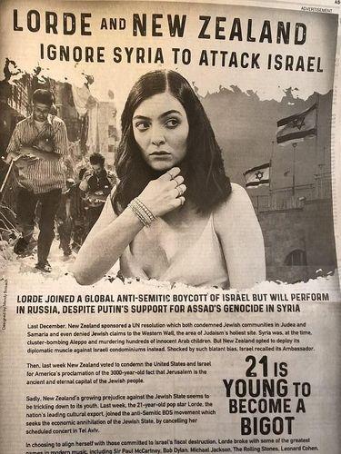 Batalkan Konser di Israel, Lorde Dijuluki Fanatik di Iklan Washington Post