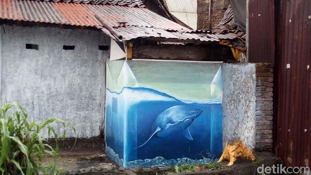 Sebuah WC dicat dengan tema akuarium