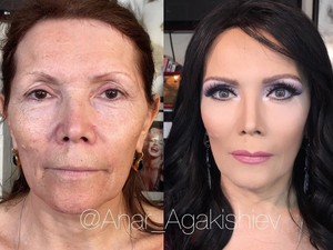 Bikin Pangling, Transformasi Wajah Wanita Tua Saat Didandani Makeup Artist