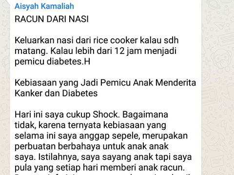 Broadcast tentang nasi yang terus dipanaskan di rice cooker akan beracun.