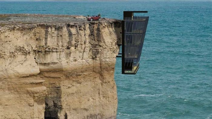Rumah ekstrim ini memiliki pemandangan ke lepas pantai. Penghuninya bisa menyaksikan hamparan air laut serta deru ombak yang mengantam tebing di bawahnya. Mashable.com/Istimewa.