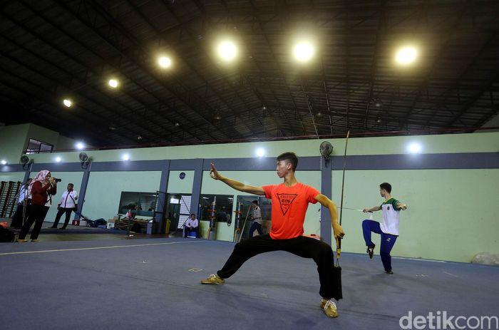 Persiapan menuju Asian Games 2018, atlet pelatnas cabang olahraga Wushu, terus menjalankan latihan.