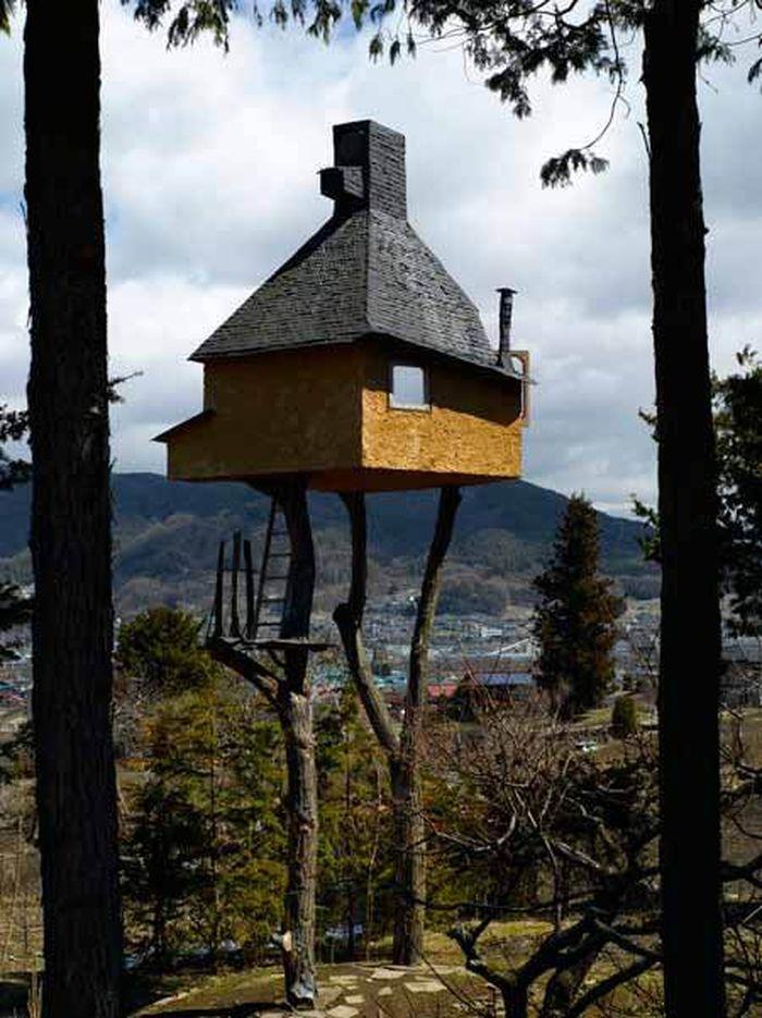 Rumah pohon ini merupakan rumah teh milik salah satu akademisi dan arsitek dari Jepang yaitu Fujimori. Dezeen.com/Istimewa.