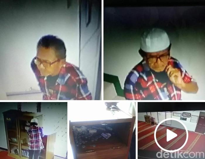 Pria terekam kamera pengintai saat membongkar kotak amal milik salah satu masjid di Sukabumi. (Foto: tangkapan layar facebook)