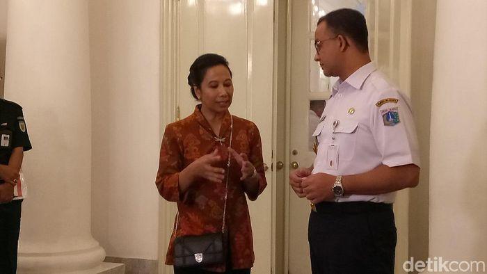 Foto: Gubernur DKI Jakarta Anies Baswedan rapat dengan Menteri BUMN Rini Soemarno. (Fida-detikcom)