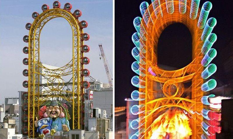 Bianglala yang dikenal sebagai Ebisu Tower, juga Dotonbori Ferris Wheel dibuat tahun 2005 dengan posisi menempel di sisi depan gedung Don Quijote di Dotonbori, Osaka, Jepang (KAZUHIRO NOGI/AFP/AFP/Getty Images)