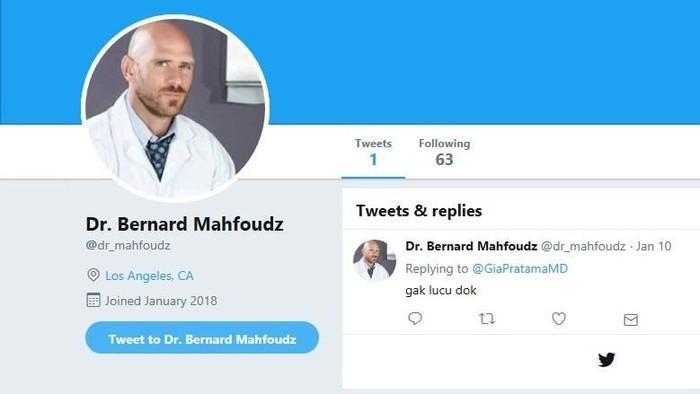 Twitter mengatasnamakan sang dokter. Foto: istimewa