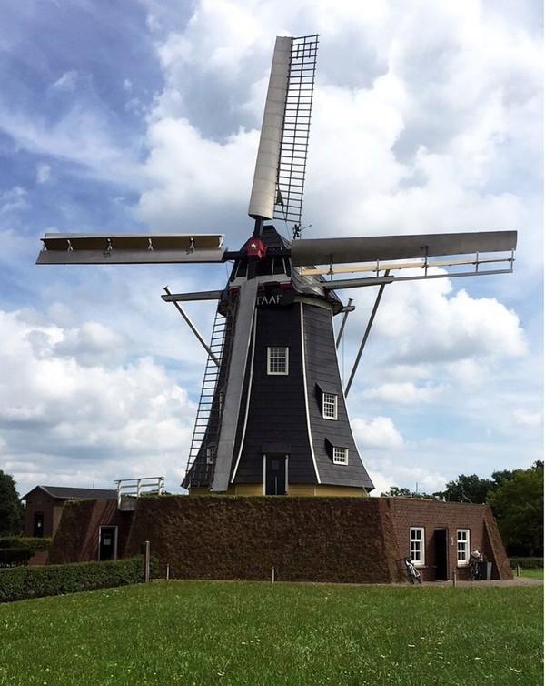 Liburan ke Belanda, Karolina juga menyempatkan diri untuk melihat kincir angin yang menjadi ciri khasnya. Foto ini misalnya, diambil di Winterswijk (bojarmeow/Instagram)