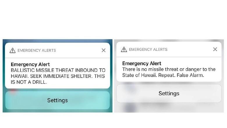 Foto: Ini SMS Palsu Soal Rudal yang Diterima Warga Hawaii