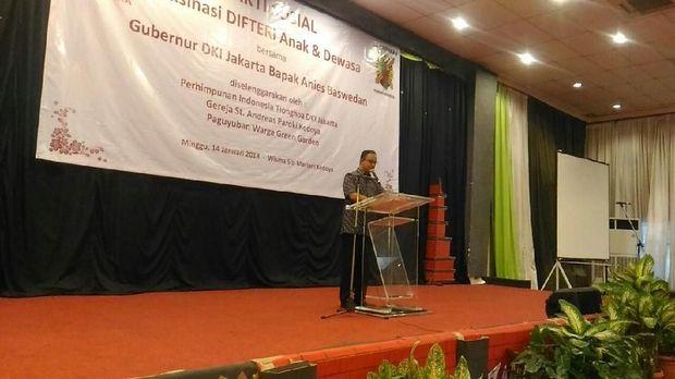 Anies Hadiri Vaksinasi Difteri Perhimpunan Indonesia-Tionghoa