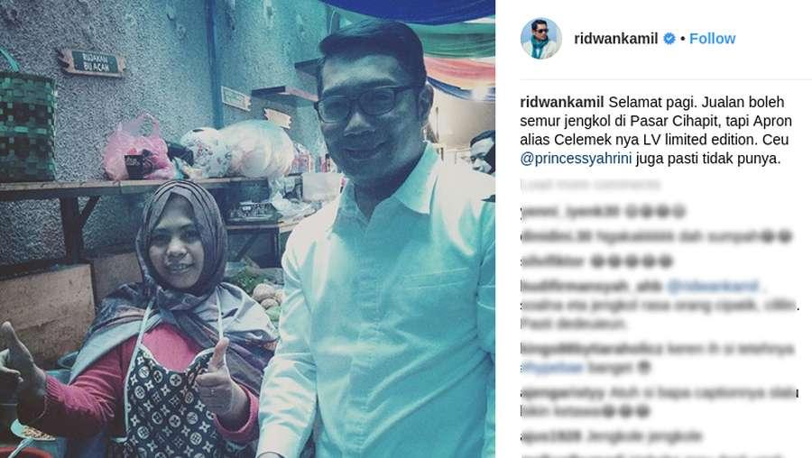 Pose Bareng Penjual Semur Jengkol Bercelemek LV, Ridwan Kamil Ledek Syahrini
